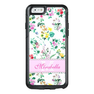 Pink purple red yellow wildflowers & roses, name OtterBox iPhone 6/6s case