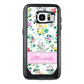 Pink purple red yellow wildflowers & roses, name OtterBox samsung galaxy s7 edge case