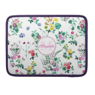 Pink purple red yellow wildflowers & roses, name sleeve for MacBooks