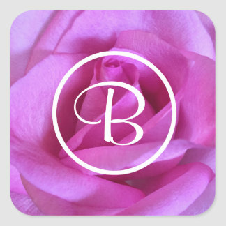 Pink purple rose close-up photo custom monogram square sticker