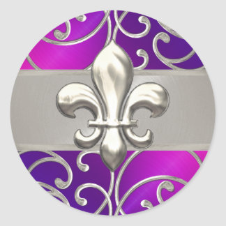 Pink Purple & Silver Filigree Swirls Fleur de Lis Round Sticker