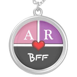 Pink & Purple Slice Round BFF Friendship Necklace