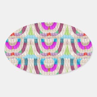 PINK Purple Sparkle Circle ETHNIC Wedding Deco ART Oval Sticker