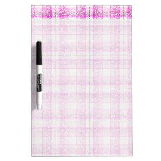 Pink & Purple Sparkly Plaid Dry Erase Board