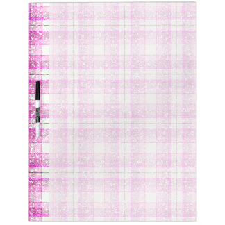 Pink & Purple Sparkly Plaid Dry Erase Board