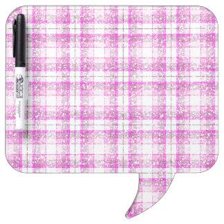 Pink & Purple Sparkly Plaid Dry-Erase Whiteboard