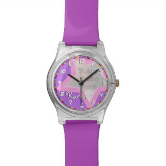 Pink purple star add your name & photo girls watch