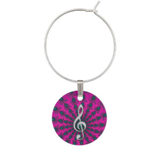 Pink Purple Star Fractal Music Clef Wine Charm