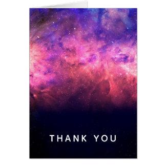 Pink Purple Starry Sky Cosmic Galaxy Sky Thank You Card