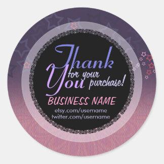 Pink purple Stars Business Thank You Sticker