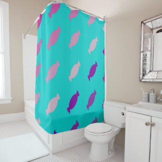 Pink purple sweet candy wraps shower curtains