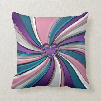 Pink Purple Teal Swirl Sweet Hearts Throw Pillow