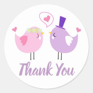 Pink & Purple Thank You Lovebirds Wedding, Bridal Classic Round Sticker