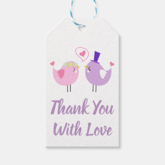 Pink & Purple Thank You Lovebirds Wedding Bridal Gift Tags