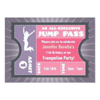 Pink & Purple Trampoline Jump Pass Invitation
