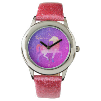 Pink Purple Unicorn Glitter Watch Name