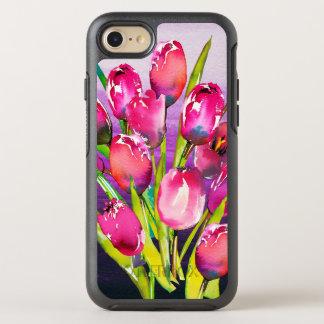 Pink Purple Violet Watercolor Tulips on Purple OtterBox Symmetry iPhone 8/7 Case