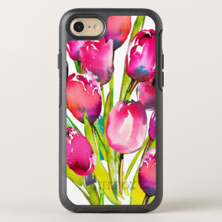 Pink Purple Violet Watercolor Tulips on White OtterBox Symmetry iPhone 8/7 Case