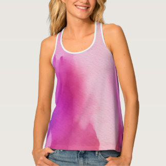 Pink & Purple Water Color Positive Space Tank Top