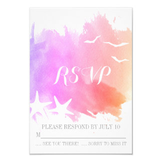 Pink purple watercolor starfish beach wedding RSVP Card