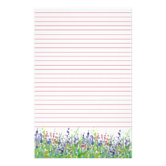Pink Purple Watercolor Wildflowers Lined Stationery