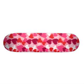Pink, Purple & White Hearts Design Custom Skate Board