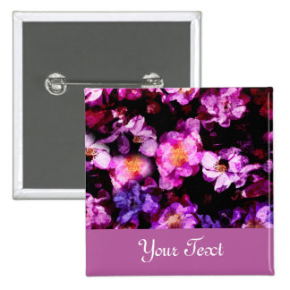 Pink Purple Wild Roses Abstract Painterly Montage Pinback Button