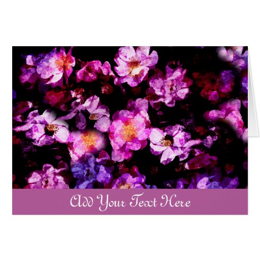 Pink Purple Wild Roses Abstract Painterly Montage Greeting Cards