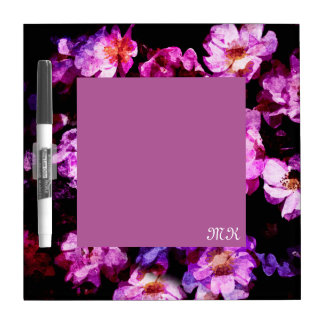 Pink Purple Wild Roses Abstract Painterly Montage Dry Erase Whiteboard