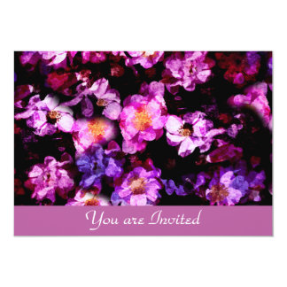 """Pink Purple Wild Roses Abstract Painterly Montage 5"""" X 7"""" Invitation Card"""