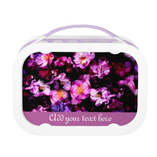 Pink Purple Wild Roses Abstract Painterly Montage Lunch Boxes