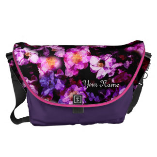 Pink Purple Wild Roses Abstract Painterly Montage Courier Bags