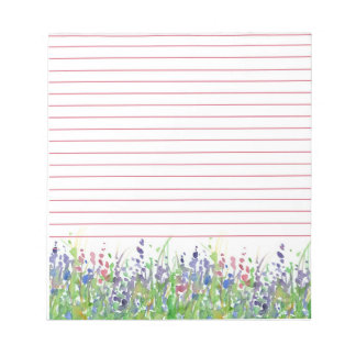 Pink Purple Wildflowers Meadow Watercolor Lined Notepad