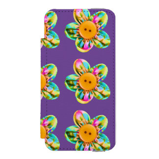 Pink, purple, yellow flowers on dark violet incipio watson™ iPhone 5 wallet case