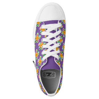 Pink, purple, yellow flowers on purple printed shoes