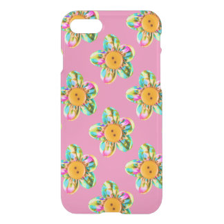 Pink, purple, yellow flowers on soft pink iPhone 8/7 case