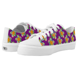 Pink, purple, yellow flowers on violet low tops