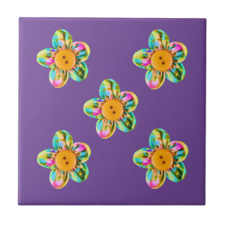 Pink, purple, yellow flowers on violet small square tile