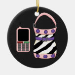 Pink Purple Zebra Stripe Purse and Pink Cell Phone Ornament