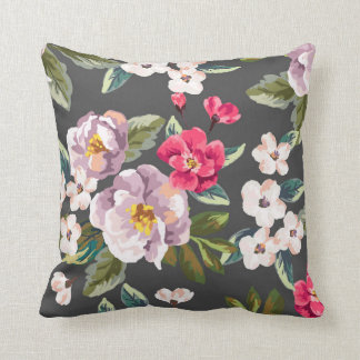 Pink PurpleVintage Floral Throw Pillow