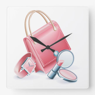 Pink Purse Watch and Makeup Square Wall Clock