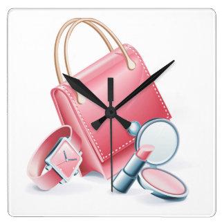 Pink Purse Watch and Makeup Wallclock