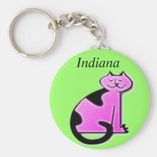 Pink Puss Basic Round Button Key Ring