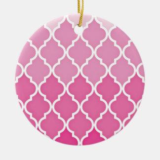 Pink Quatrefoil Ceramic Ornament