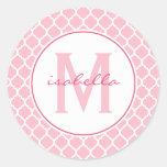 Pink Quatrefoil Monogram Sticker
