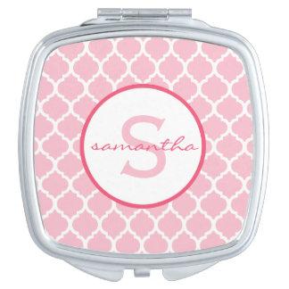 Pink Quatrefoil Monogram Travel Mirrors
