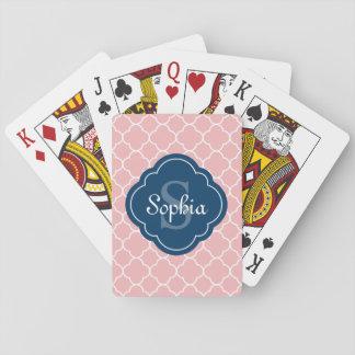 Pink Quatrefoil Pattern Navy Monogram Playing Cards