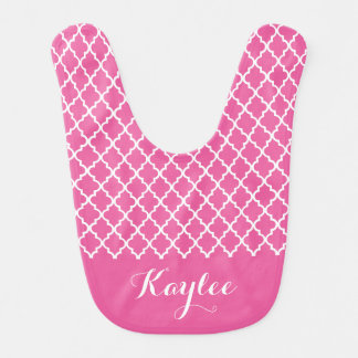 Pink Quatrefoil Personalized Baby Bib