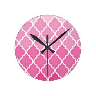 Pink Quatrefoil Round Clock