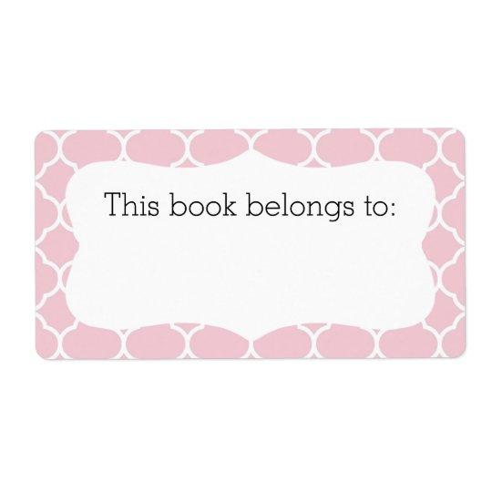"Pink Quatrefoil ""This Book Belongs To"" Labels"